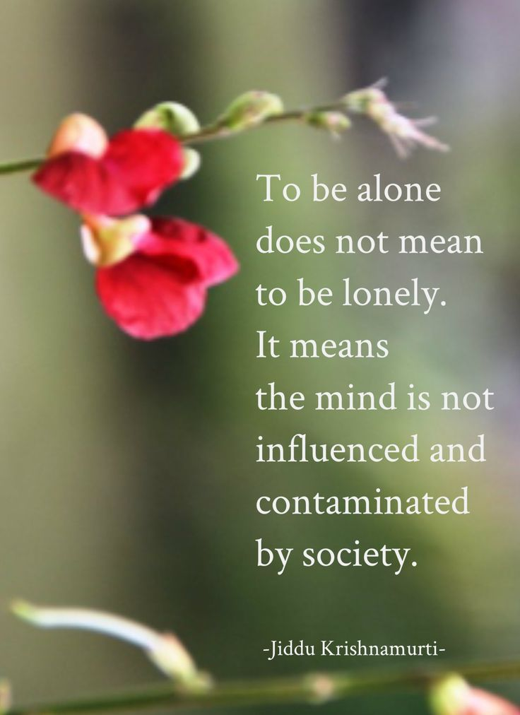 """""""To be alone does not mean to be lonely. It means the mind is not influenced and contaminated by society."""" Jiddu Krishnamurti"""
