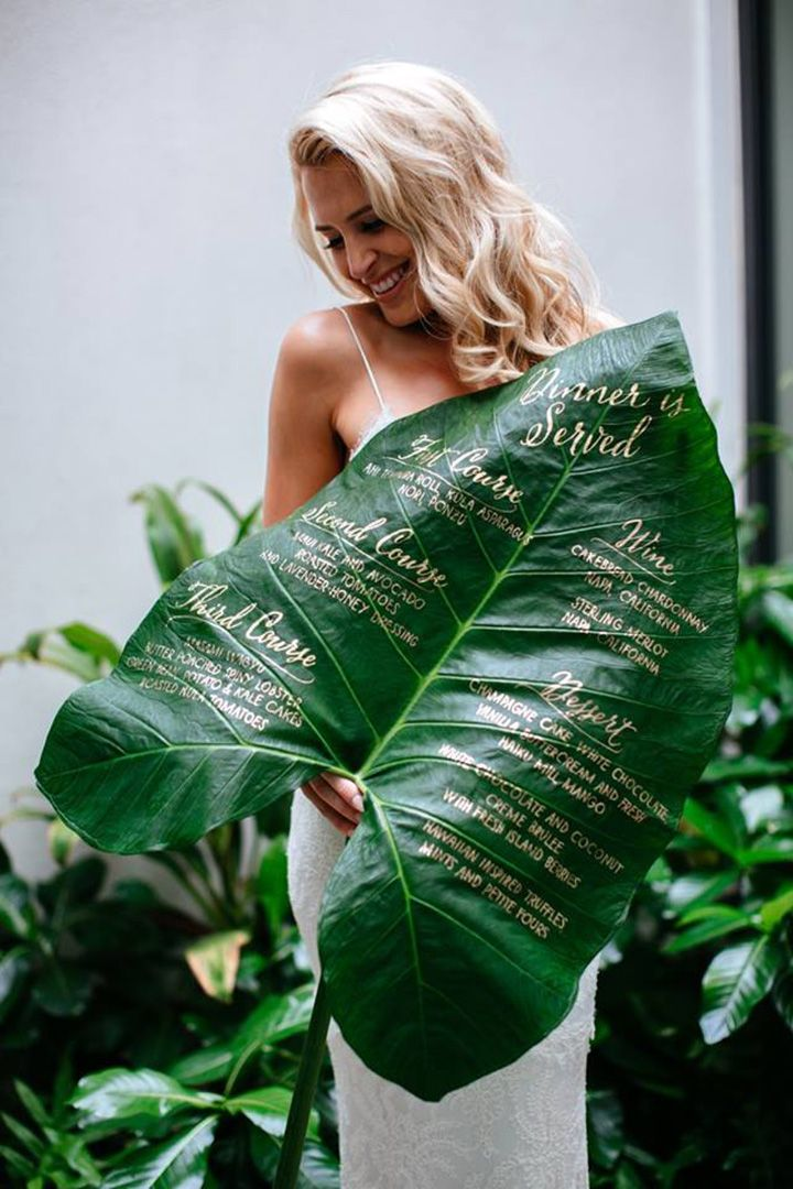Planning a destination wedding to Maui?  Then you've got to check out Miss B. Calligraphy, a custom calligraphy boutique on the island of Maui.  They specialize in large scale chalkboards, wooden signs, menu design, illustrations, place cards and envelope addressing.  We fell in love with their calligraphy on tropical leaves that we found on their Facebook …
