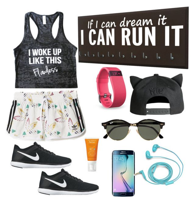 let's run by alegaravito on Polyvore featuring polyvore fashion style NIKE Ray-Ban Fitbit FOSSIL clothing