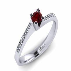 Inel de logodna ATCOM Lux cu rubin si diamante MIRUNA aur alb