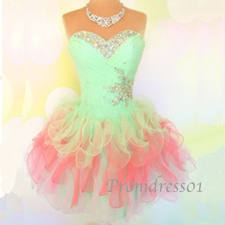 Short prom dress, 2015 colorful sweetheart strapless organza beaded prom dress…