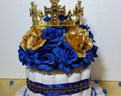 DIAPER CAKE Centerpiece With Crown For Royal Prince Baby Shower / Boys Royal Blue and Gold Baby Shower Theme and Decorations