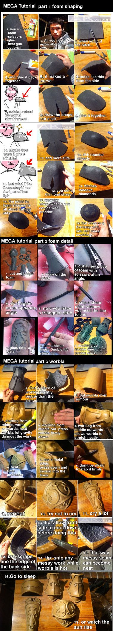 Foam and Worbla armour MEGA TUTORIAL by AmenoKitarou https://www.facebook.com/photo.php?v=663041573783588