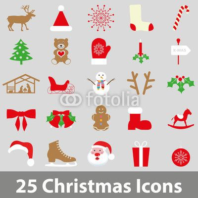 25 Farbenfrohe Weihnachts-icons