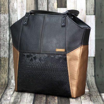 Tasche Lexa aus Kunstleder in schwarz und kupfergold Nähanleitung Ebook Schnittmuster Hansedelli
