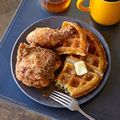 buttermilk fried chicken with cornmeal waffles & apple cider syrup YUM