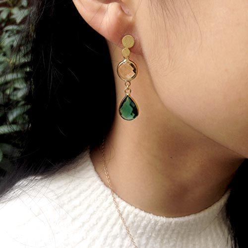 Øreringe med glasvedhænghæng