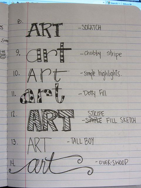 I should make a catalog of different hand-lettering styles as a reference for when I'm doing scrapbooking.