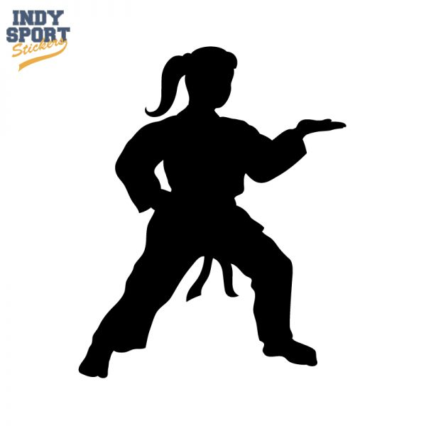 Martial Arts Karate Female Girl Silhouette Decal Or