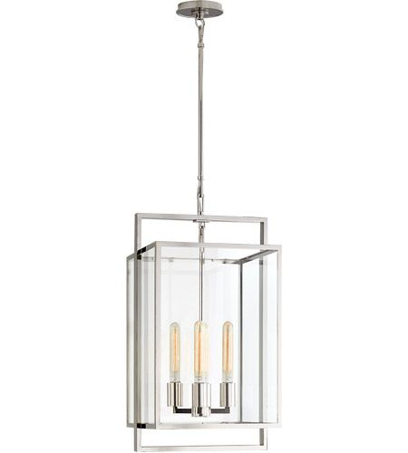 Visual Comfort S5192PN-CG Ian K. Fowler Halle 4 Light 14 inch Polished Nickel Hanging Lantern Ceiling Light, Small #LightingNewYork