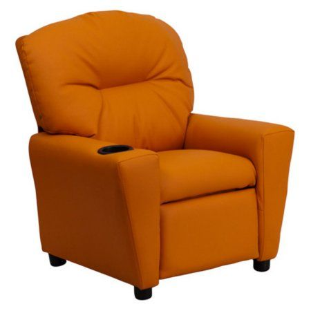 Flash Furniture Kids' Vinyl Recliner with Cup Holder, Multiple Colors, Orange