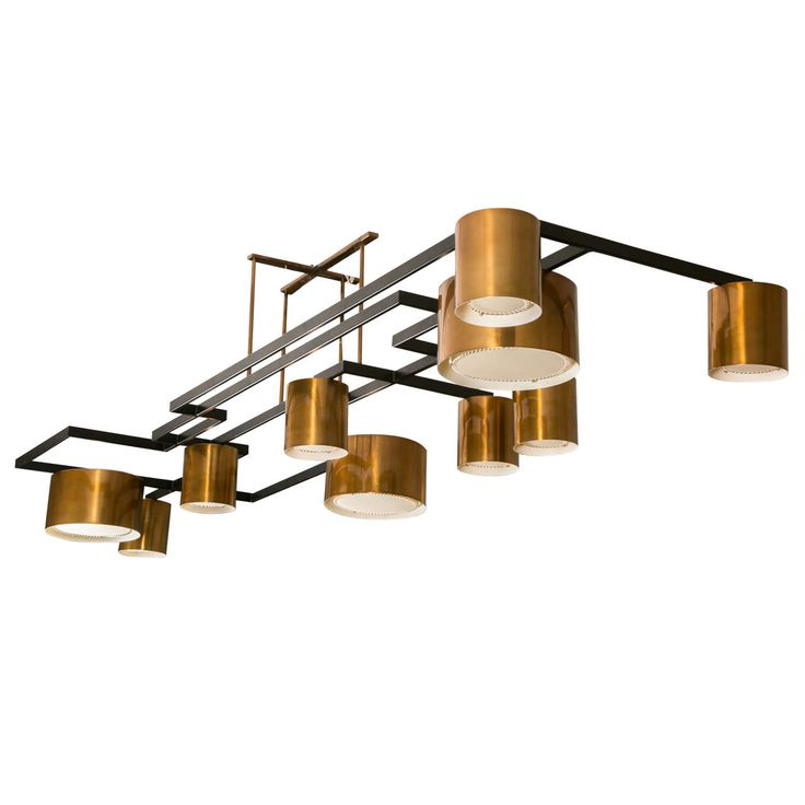 Large Modernist Copper Chandelier | From a unique collection of antique and modern chandeliers and pendants at https://www.1stdibs.com/furniture/lighting/chandeliers-pendant-lights/