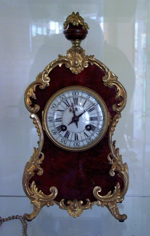 French small mantel clock with turtle shell 1860