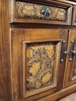 Western tooled leather style bathroom cabinets | Add to Wishlist