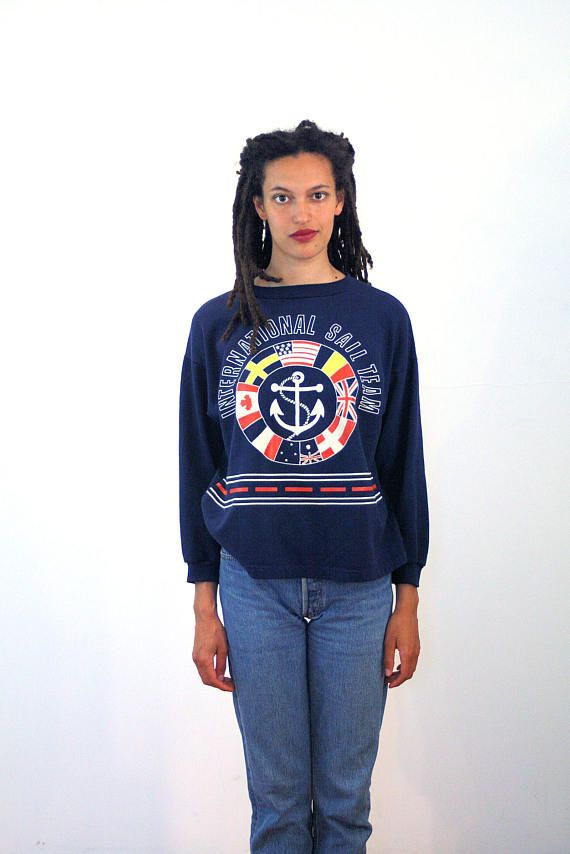 80s International Sail Team Sweatshirt M, Vintage Sailing Shirt, Navy Blue Nautical Sweatshirt, USA Canada Great Britain Yachting Jersey