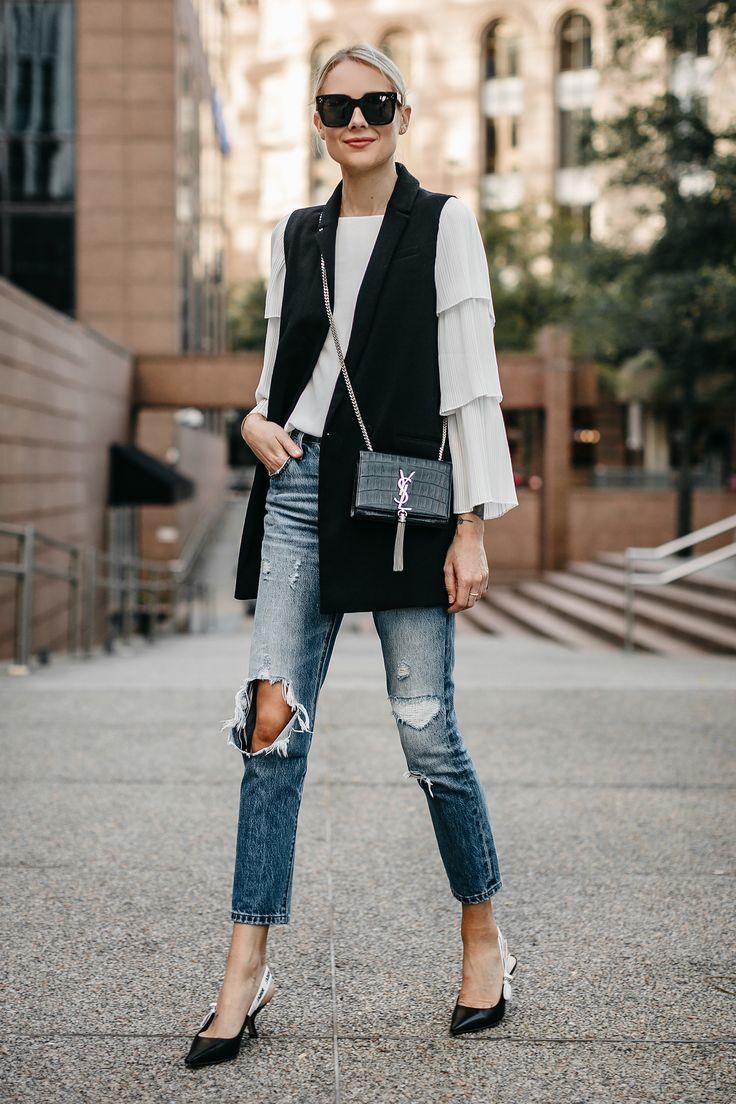 Long Black Vest White Pleat Sleeve Top Denim Ripped Jeans Dior Slingbacks Saint Laurant Monogram Crossbody Fashion Jackson Dallas Blogger Fashion Blogger Street Style