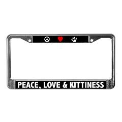 Peace Love and Kittiness License Plate Frame Peace Love and Kittiness Cafe Pets