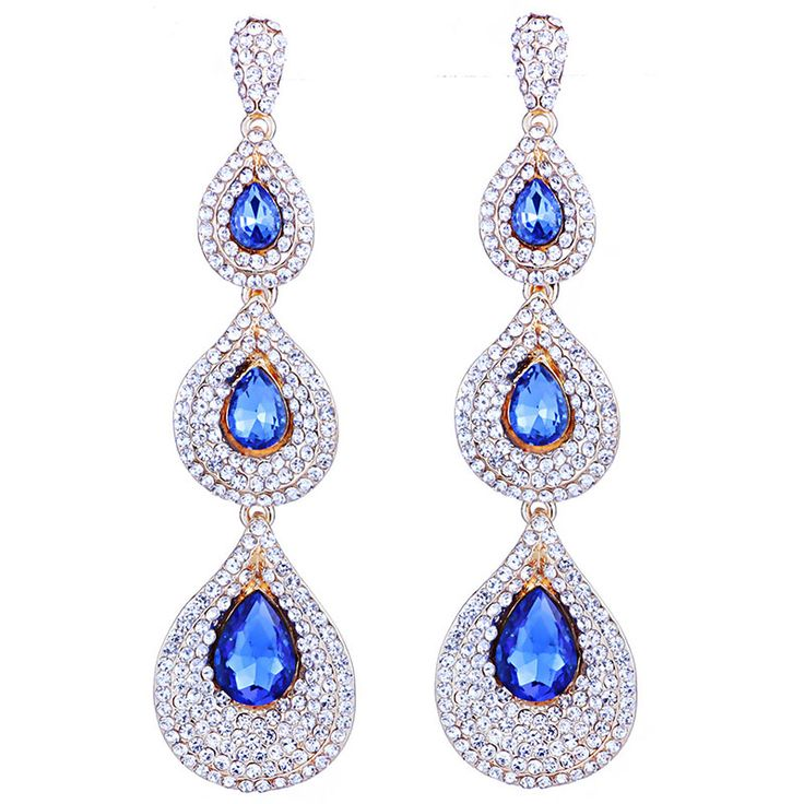 Fashion Female Light Blue Waterdrop Clip on Earrings Silver-tone Swarovski Elements Crystal MMqTFfHf5f