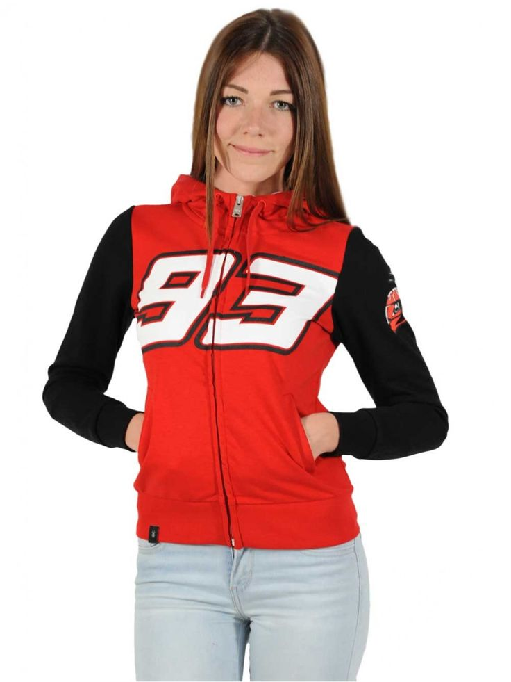 Women's sweatshirt with a sporty look, inspired by the colours of the Spanish rider, Marc Marquez.