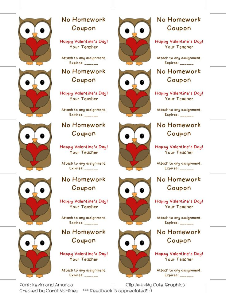 cute valentines day no homework coupons attach to a seasonal pencil and make - Valentines For Students