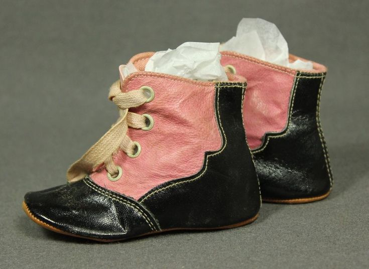 Charming Antique Victorian Baby Childs Children Shoes/Boots Pink & Black Leather
