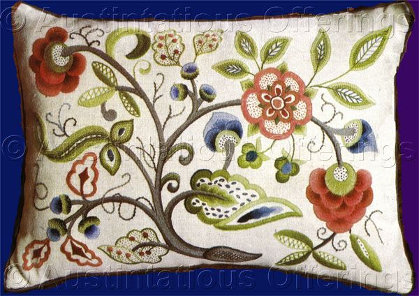 Rare Chrimes FloralBranch CrewelEmbroidery Kit Williams Jacobean