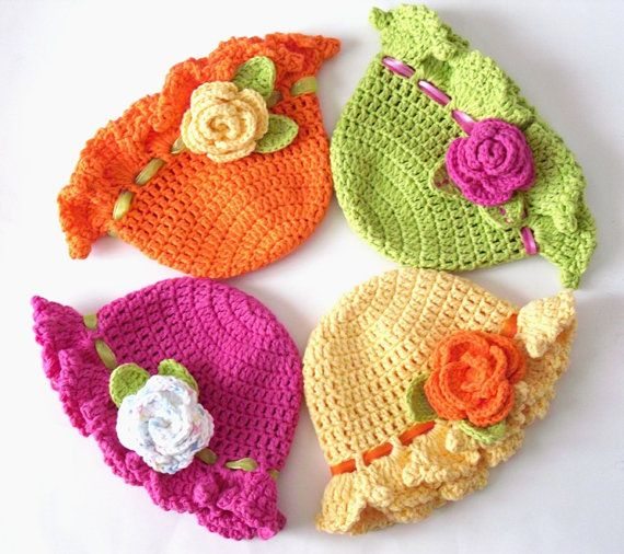 Bright Neon Crochet Spring & Summer Floppy Brim by CrochetFun4Kids,
