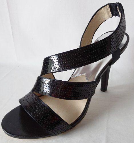 MICHAEL Michael Kors Women's Farris Slingback Sequin Sandal (6.5, black) Michael  Kors http