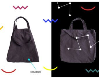 Minimalist cotton bag that can be used as oversized tote bag and cross body bag in one.