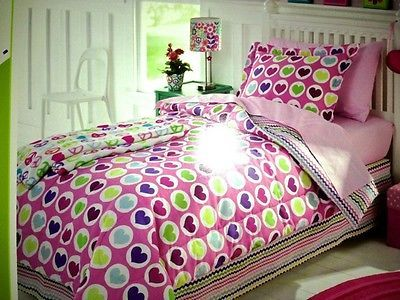 New Girls Kids Youth Pink Purple Hearts 5 PC Twin Bed Comforter Set in Bag   eBay