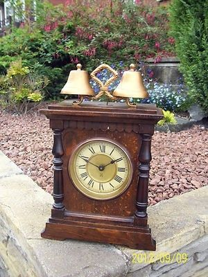 Lovely Petite oak case twin bell alarm clock, circa 1920s by the American Hamburg Clock Co. suprb case with good patination ( size 12  x 8  ) nice clean dialwith brass bezel working order , a bit gru