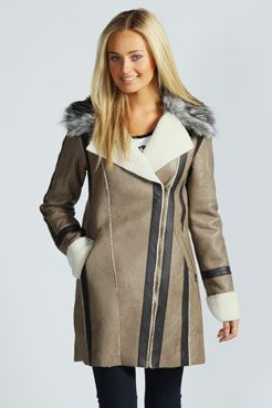 Jamelia Bonded Sherpa Biker Coat at boohoo.com