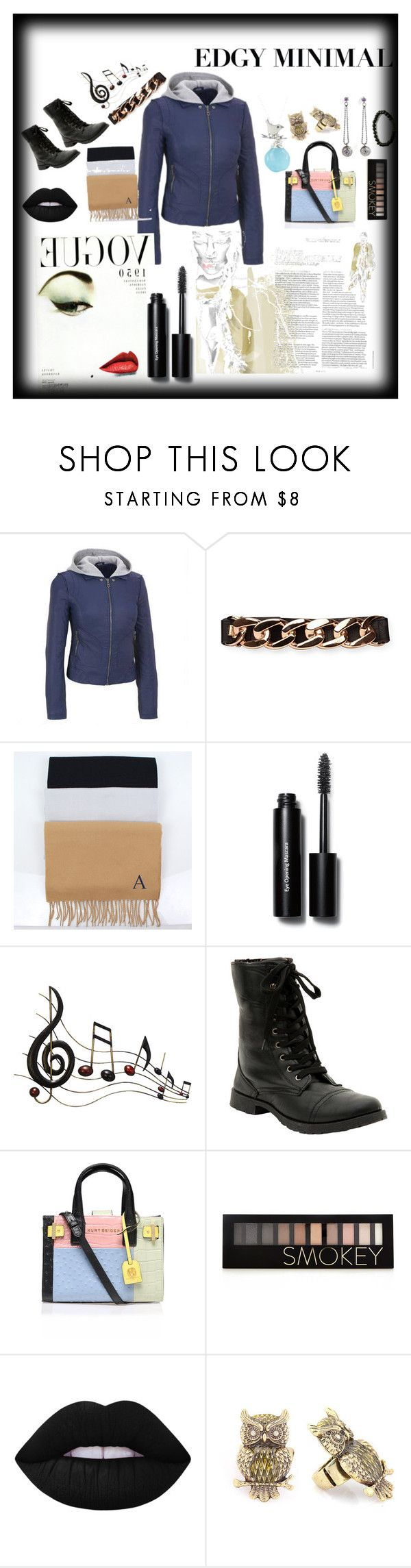 """The edgy minimal black rivet loves a triste with vogue boots mascara."" by fellowwanderers ❤ liked on Polyvore featuring Bobbi Brown Cosmetics, Benzara, Kurt Geiger, Forever 21, Lime Crime, Becky Dockree Jewellery, modern, women's clothing, women and female"