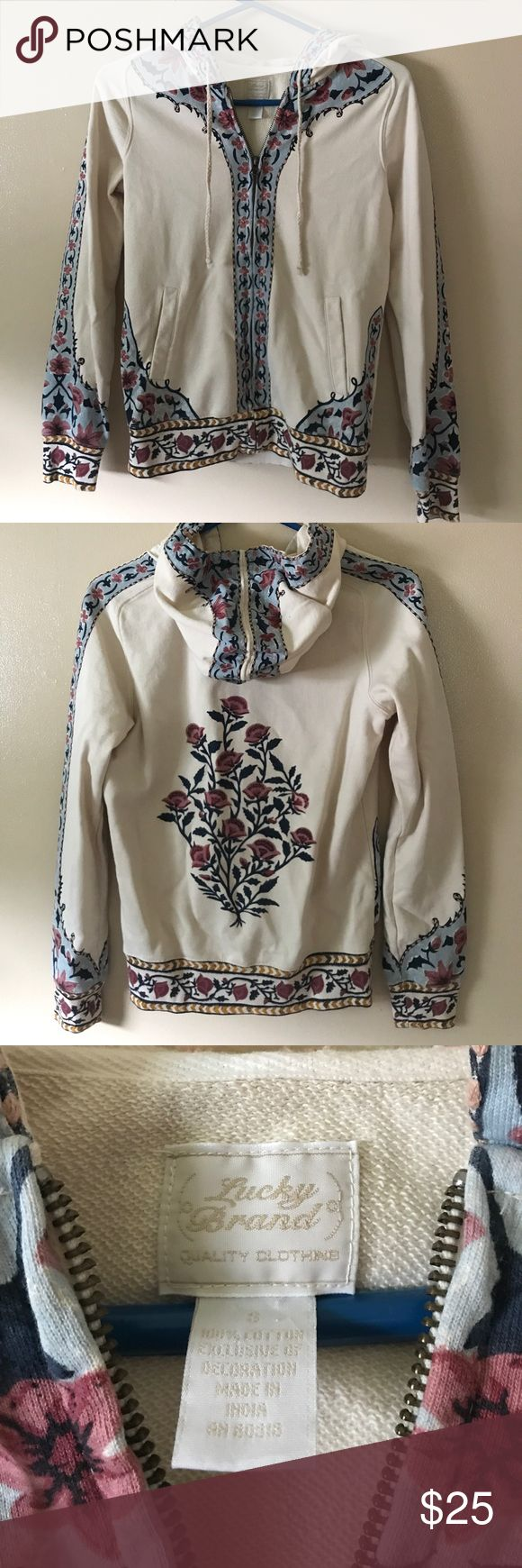 Lucky Brand floral hoodie Beautiful hand-painted style hoodie. Inner material is similar to terry cloth. The floral design keeps this piece classy and elegant but casual. EUC, no stains or flaws. Lucky Brand Tops Sweatshirts & Hoodies