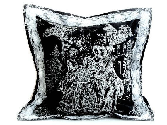 Black pillow cover 18x18 Toile de jouy Jacquard throw by SABDECO