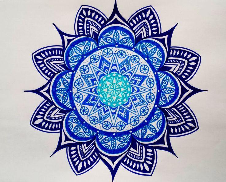 Zentangle blue mandala #MehendiMandalaArt @MehendiMandala
