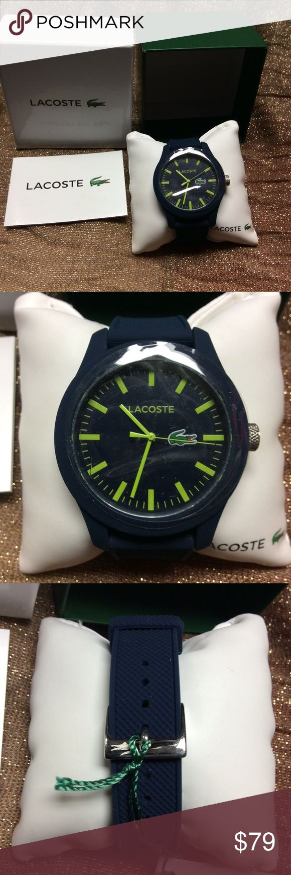Lacoste Navy Mens Watch 2010792 Collection Lacoste Watch. Makes an amazing gift. Never worn. Great condition. NEW. Make an offer! Make it yours! No flaws . Adjustable strap. Gummy feel. Perfect for everyday Lacoste Accessories Watches