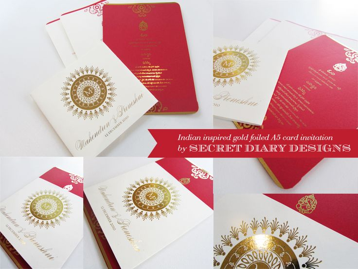 Gold foiled traditional Indian wedding invitations by Secret Diary. #Weddingstationery #weddinginvitations #luxuryinvitations #invites #Indian #Traditional #red #gold