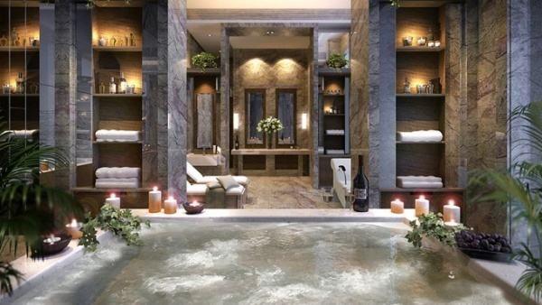 Home spa interior design ideas Love the shelves and the