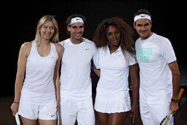 Maria Sharapova, Rafael Nadal, Serena Williams and Roger Federer at a #Nike event in Paris #RG13 #tennis