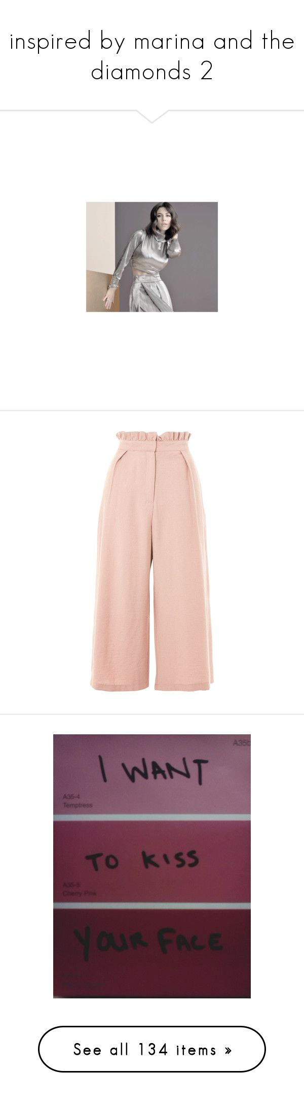 """""""inspired by marina and the diamonds 2"""" by gb041112 ❤ liked on Polyvore featuring pictures, pants, bottoms, trousers, dusty pink, striped trousers, striped wide leg pants, striped wide leg trousers, pink wide leg pants and pink wide leg trousers"""