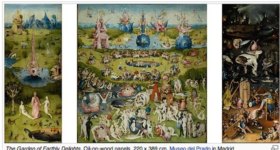 "Well, the historical and psychological interpretations of Bosch's ""Garden of Earthly Delights"" are fun stuff. You know, people torturing themselves about enjoying sexuality, and trying to find some legitimate visionary spiritual context for ... you know, digging it. The ""Hell"" in the triptych really does seem to be gamblers and triflers. So, Edenic. Or not. I will say this - seeing this sucker up close in the Prado in Madrid is pretty overwhelming."