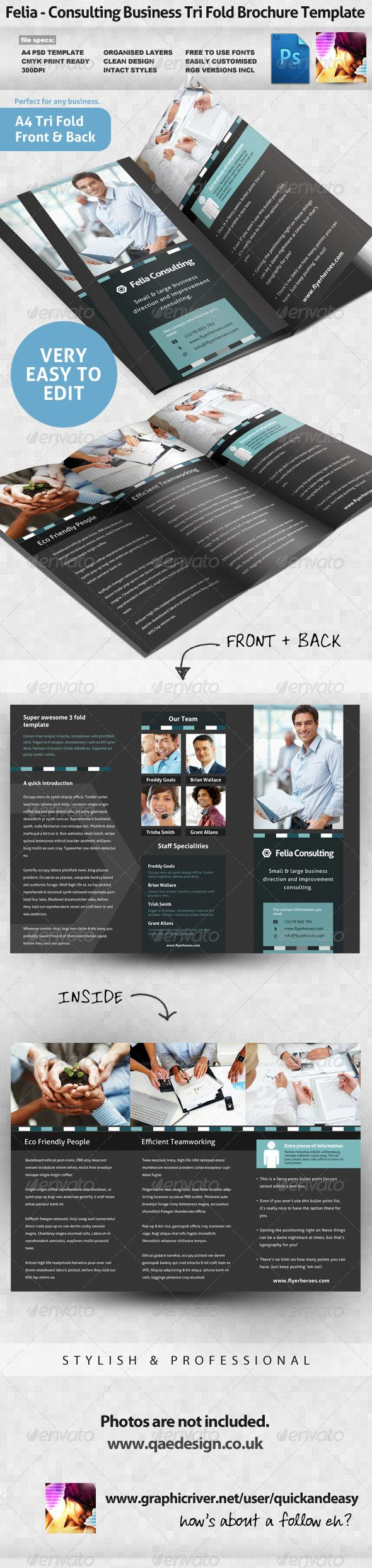 Felia - Consulting 3 Fold Brochure Template  #GraphicRiver                   Consulting 3-fold Brochure Template  Felia, A clean, crisp, high impact, highly editable, super high quality Small Business / Corporate / Consulting Photoshop PSD 3 -Fold Brochure Template Layout, perfect for any small business or product themed tri-fold brochure.   Highly editable PSD brochure template, very easily customise to make it your own in seconds!   What does this file ship with?   Consulting 3-fold…