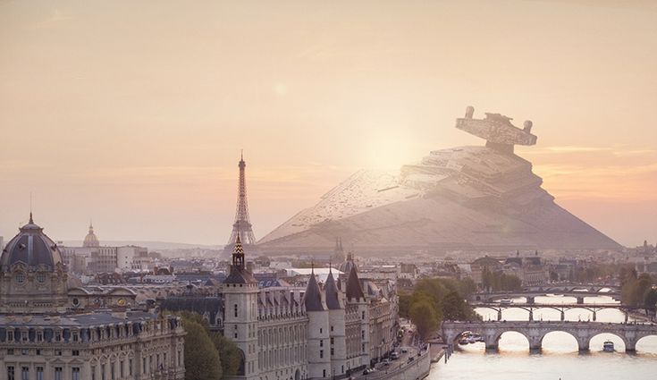 Nicolas Amiard - an enormous star destroyer ship haphazardly landsin front of paris' eiffel tower