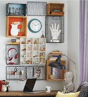 A unique and affordable decorating idea from HomeSense –turn baskets into wall  hanging storage to clear the clutter in small spaces.