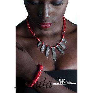 Collier en argent et corail, bijoux ethnique 247822