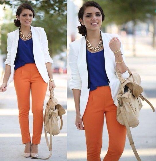 White blazer, orange pants, blue Klein