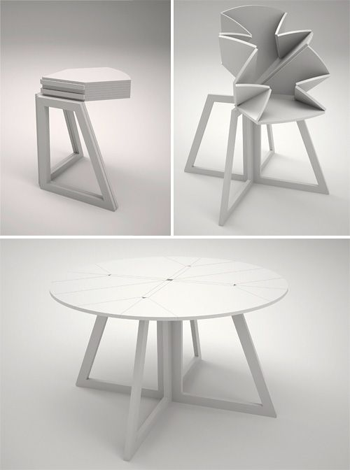 Ingenious. What a great dining room table for those with small spaces. It just becomes a corner table when not in use. Great idea.