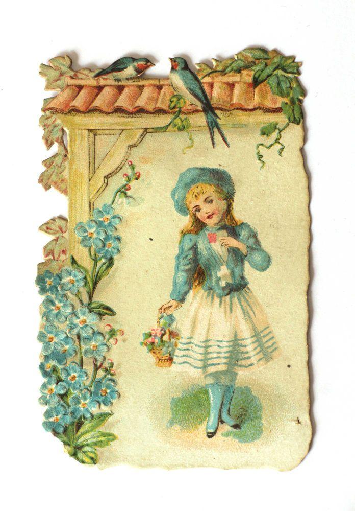 alte Oblaten /victorian die cut  Mädchen blau mit Schwalben  ca.1890