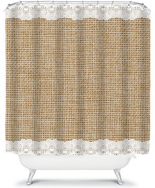 Simple Burlap and Lace Shower Curtain, Beautiful Burlap Home Decor Bathroom Shower Curtain